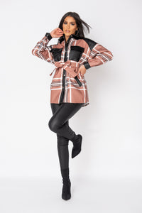 Mocha Checked Faux Leather Trim Belted Jacket