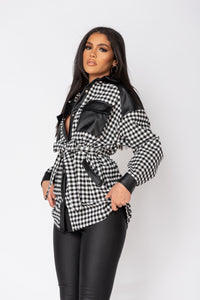 Black Gingham Check Faux Leather Trim Belted Jacket
