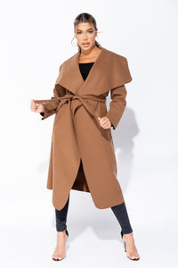 Brown Maxi Length Oversized Belted Waterfall Coat
