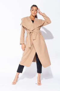 Camel Maxi Length Oversized Belted Waterfall Coat