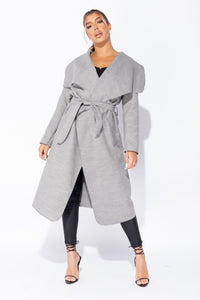Grey Maxi Length Oversized Belted Waterfall Coat