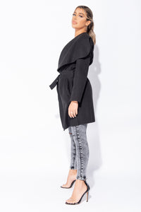 Black Mid Length Oversized Belted Waterfall Coat