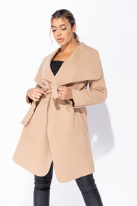 Camel Mid Length Oversized Belted Waterfall Coat