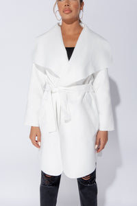 Off White Mid Length Oversized Belted Waterfall Coat