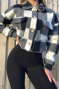 Black Brushed Check Cropped Shacket