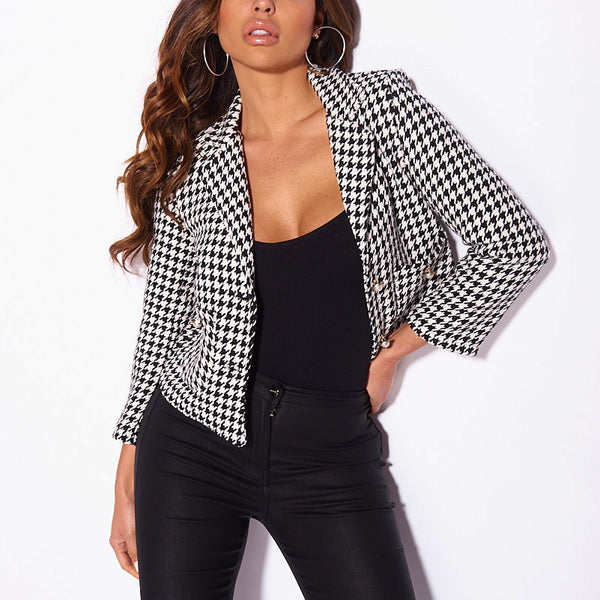Black White Dog Tooth Check Pearl Button Fitted Blazer
