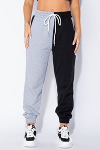 Black Grey Two Tone Colour Block Jogging Trousers