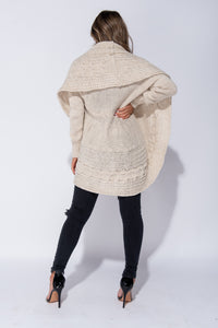 Beige Chunky Cable Knit Shawl Collar Longline Cardigan