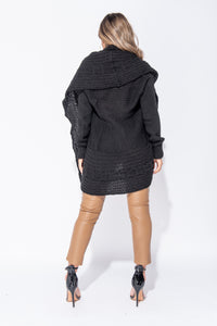 Black Chunky Cable Knit Shawl Collar Longline Cardigan