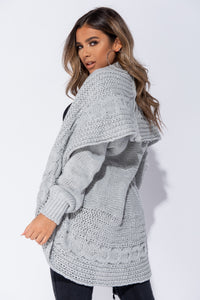 Grey Chunky Cable Knit Shawl Collar Longline Cardigan