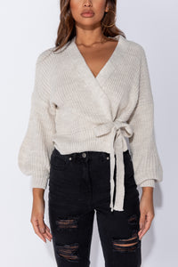 Beige Wrap Front Belted Puff Sleeve Cropped Cardigan