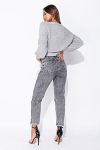 Grey Wrap Front  Belted Puff Sleeve Cropped Cardigan