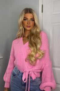 Pink Wrap Front Belted Puff Sleeve Cropped Cardigan