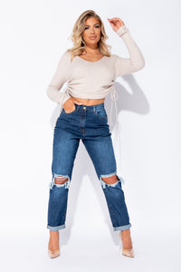 Beige V Neck Ruched Side Rib Knit Crop Jumper