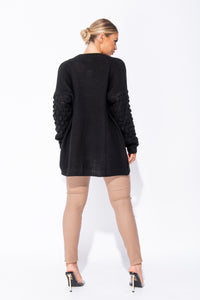 Black Contrast Sleeve Oversized Cardigan