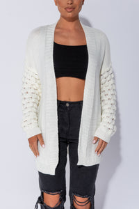 Off White Contrast Sleeve Oversized Cardigan