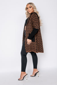 Brown Black Geometric Hooded Cardigan