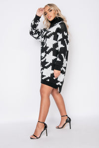 Black White Houndstooth Check Roll Neck Jumper Dress