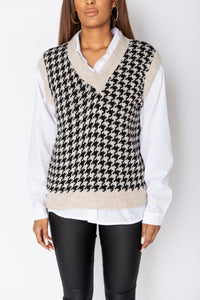 Beige Houndstooth Check Sleeveless Knitted Top