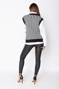 Black Houndstooth Check Sleeveles Knitted Top
