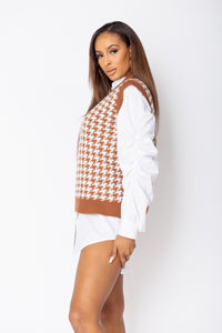 Rust Houndstooth Check Sleeveless Knitted Top