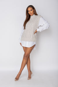 Beige Cable Knit Sleeveless Knitted Top