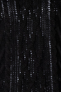 Black Cable Knit Sleeveless Knitted Top