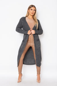 Charcoal Chunky Knit Maxi Cardigan