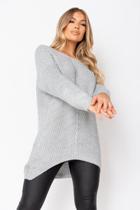 Grey Lurex Knit Oversized Jumper