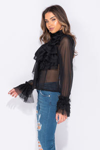 Black Pussy Bow Detail Frill Detail Long Sleeve Blouse - Parisian-uk