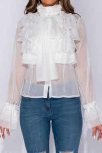 White Pussy Bow Detail Frill Detail Long Sleeve Blouse