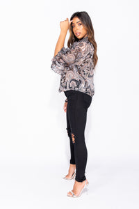 Black Paisley Print Pussy Bow Long Sleeve Frill Detail Blouse