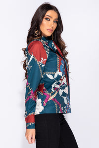 Teal Floral Print Pussy Bow Long Sleeve Blouse
