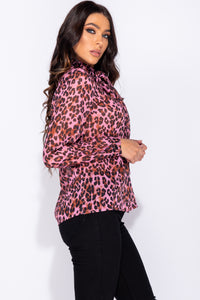 Pink Leopard Print Pussybow Long Sleeve Blouse
