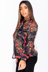 Black Floral Print Satin Pussy Bow Long Sleeve Blouse