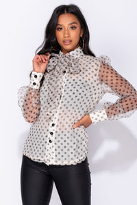 Beige Polka Dot Organza Pussy Bow Button Up Front Long Sleeve Sheer Back Blouse