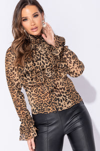 Camel Leopard Print Pussybow Frill Detail Long Sleeve Blouse