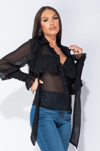 Black Ruffle Trim Long Sleeve Pussybow Tie Chiffon Blouse Top