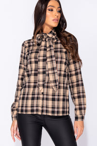 Beige Checked Pussy Bow Tie Long Sleeve Blouse