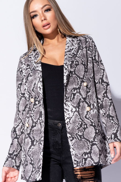Image: Grey Snake Print Pearl Button Double Breasted Blazer - Parisian-uk