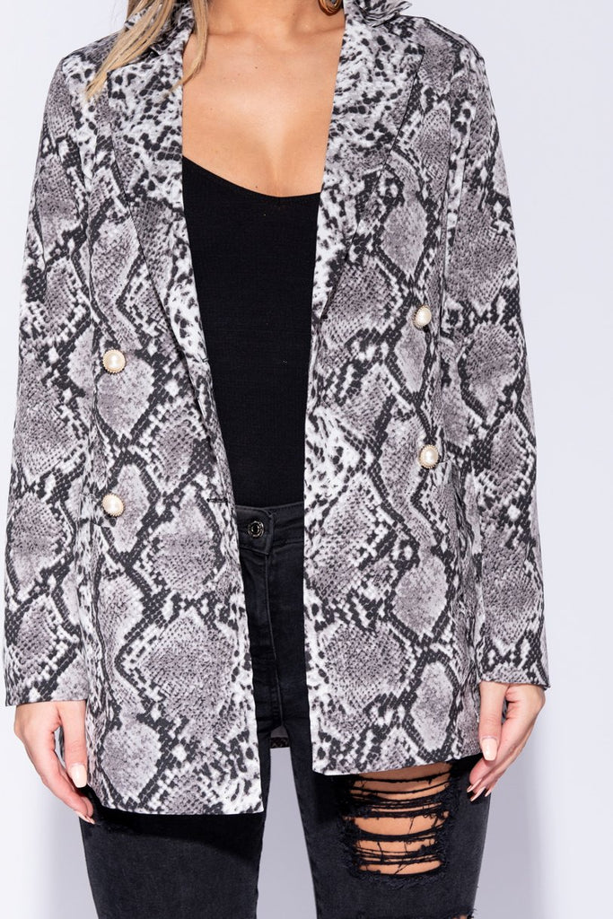 Grey Snake Print Pearl Button Double Breasted Blazer - Parisian-uk