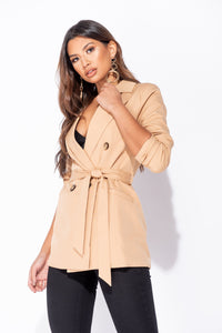 Camel Double Breasted Belted Fitted Blazer