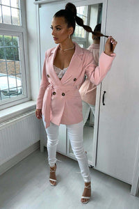 Pink Double Breasted Belted Fitted Blazer