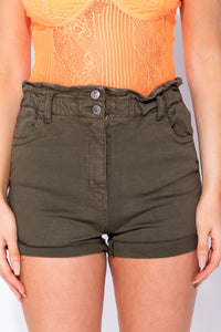 Khaki Paper Bag Waist Turn Up Hem Denim Hotpant
