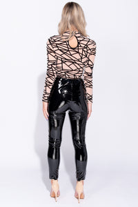 Nude Abstract Print Long Sleeeved Mesh Bodysuit