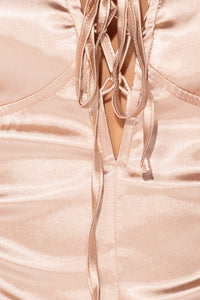 Champagne Satin Lace Panel Tie Up Front Bodysuit