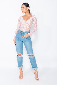 Pink Lace Scalloped Edge Sheer Long Sleeve Bodysuit