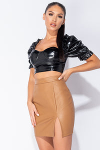 Rust Faux Leather Split Hem Mini Skirt