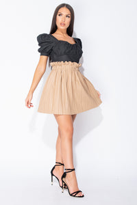 Camel PU Paperbag Waist Pleated Mini Skirt