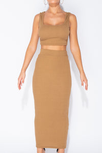 Camel Knit Rib Crop Vest Top & Matching Maxi Skirt Lounge Suit